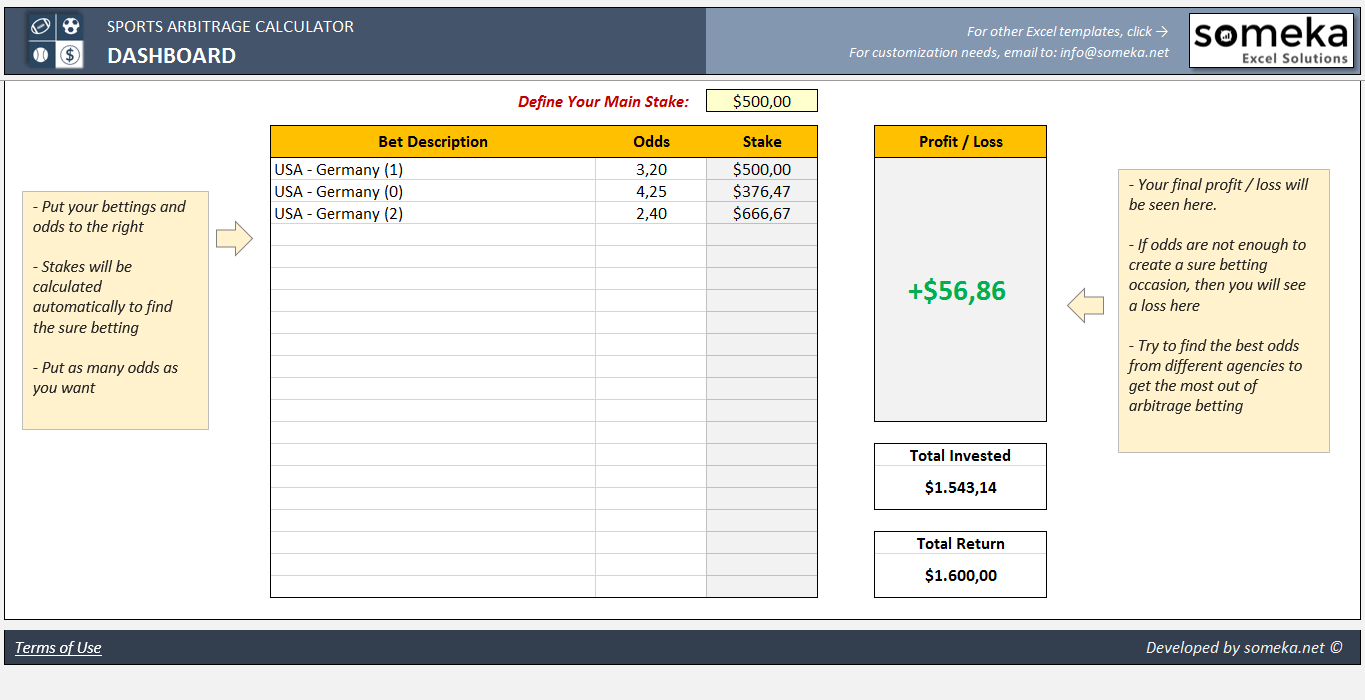 Sports Arbitrage Calculator Excel Template - Someka Excel Solutions - SS3