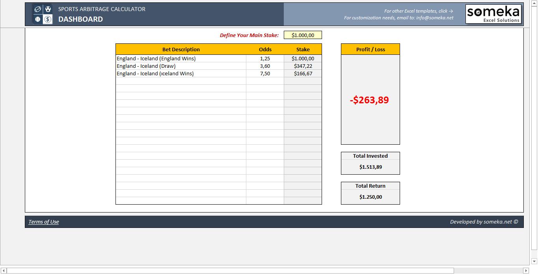 Sports Arbitrage Calculator - Someka SS11