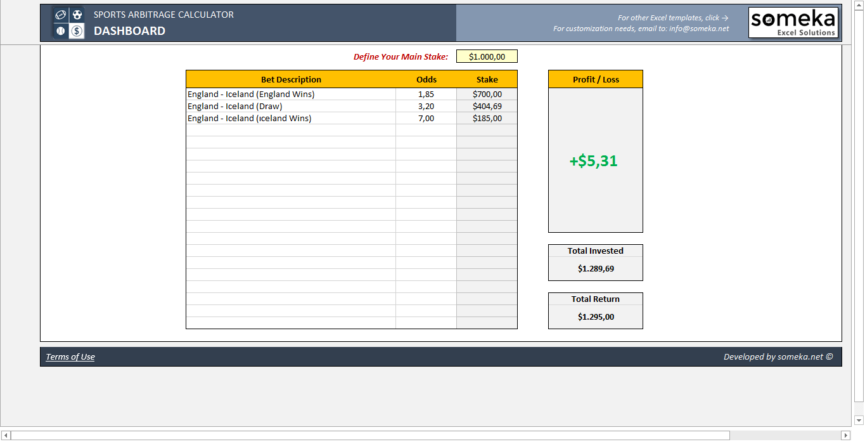 Sports Arbitrage Calculator - Someka SS13
