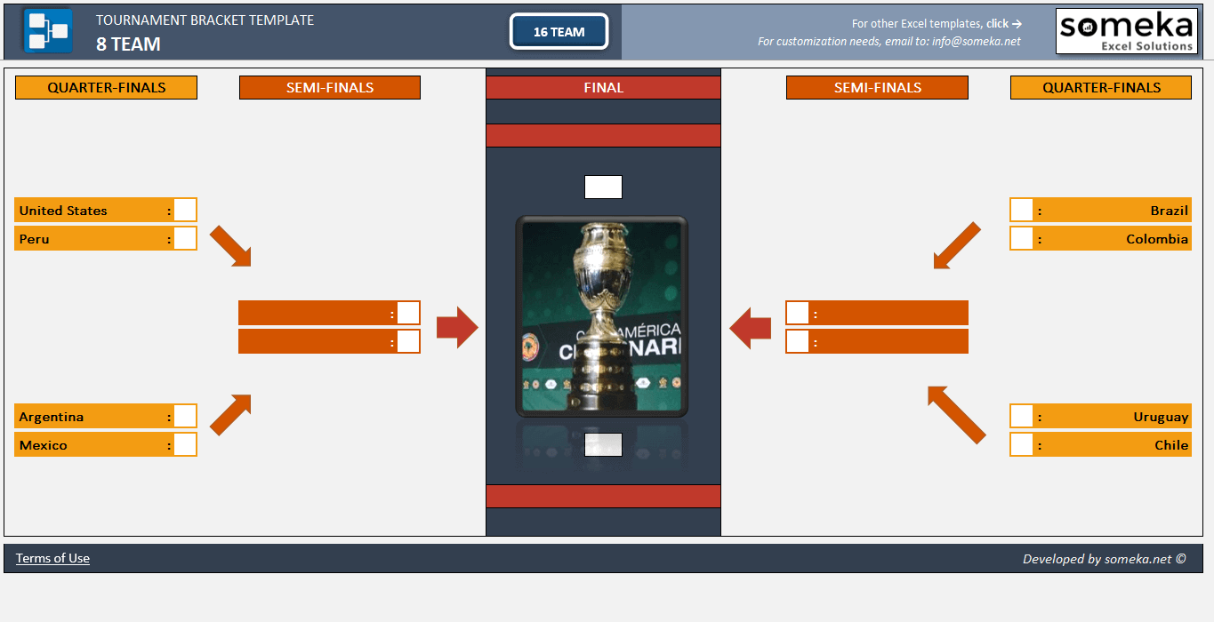 Tournament Bracket Excel Template - Someka Excel Solutions - SS1