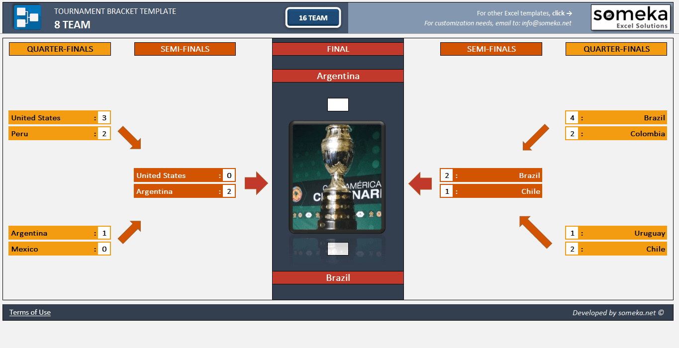 Tournament Bracket Excel Template - Someka Excel Solutions - SS3