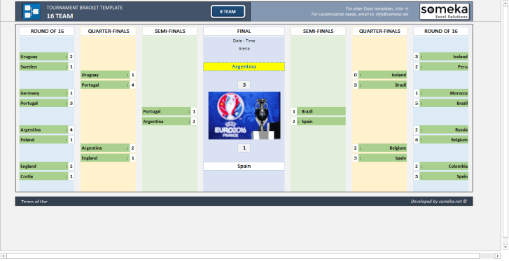 Tournament Bracket Template - Someka SS13