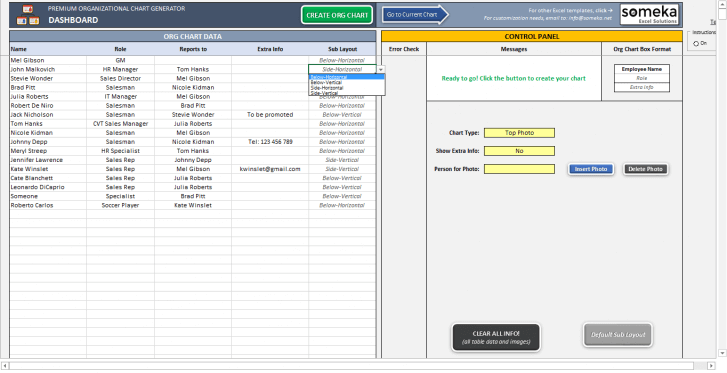 Automatic Org Chart Generator – Premium Version - Someka SS15