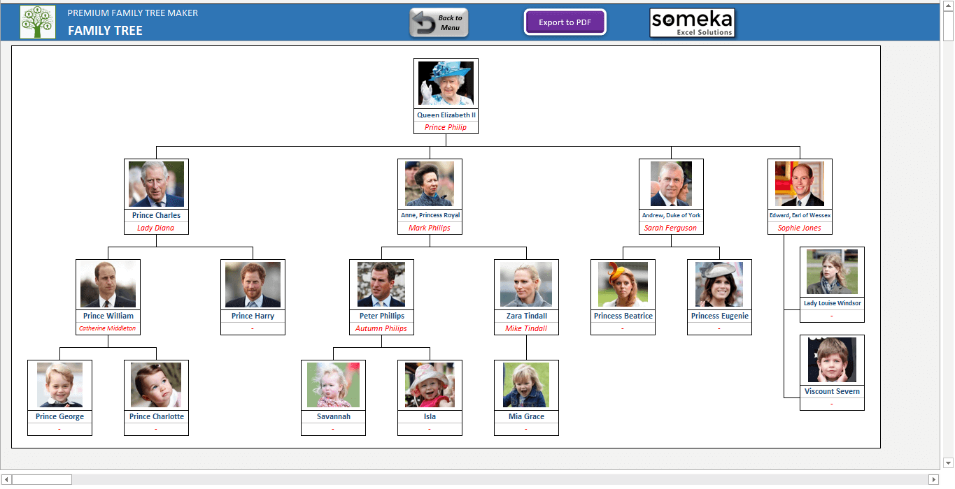 Family Tree Template - Printable Excel Generator with Photos