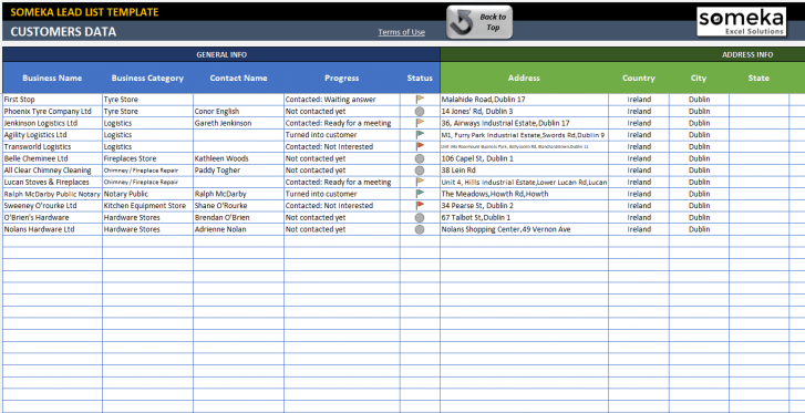Lead List Excel Template - Someka Excel Solutions - SS1