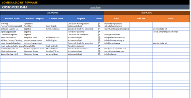 Lead List Excel Template – Someka Excel Solutions – SS2