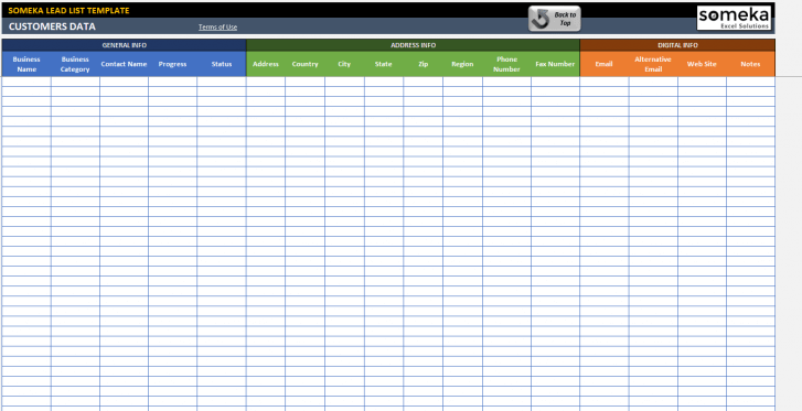 Lead List Excel Template - Someka Excel Solutions - SS4