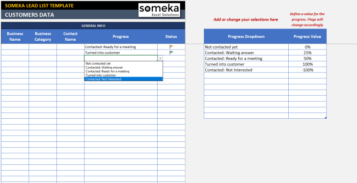 Lead List Excel Template - Someka Excel Solutions - SS5