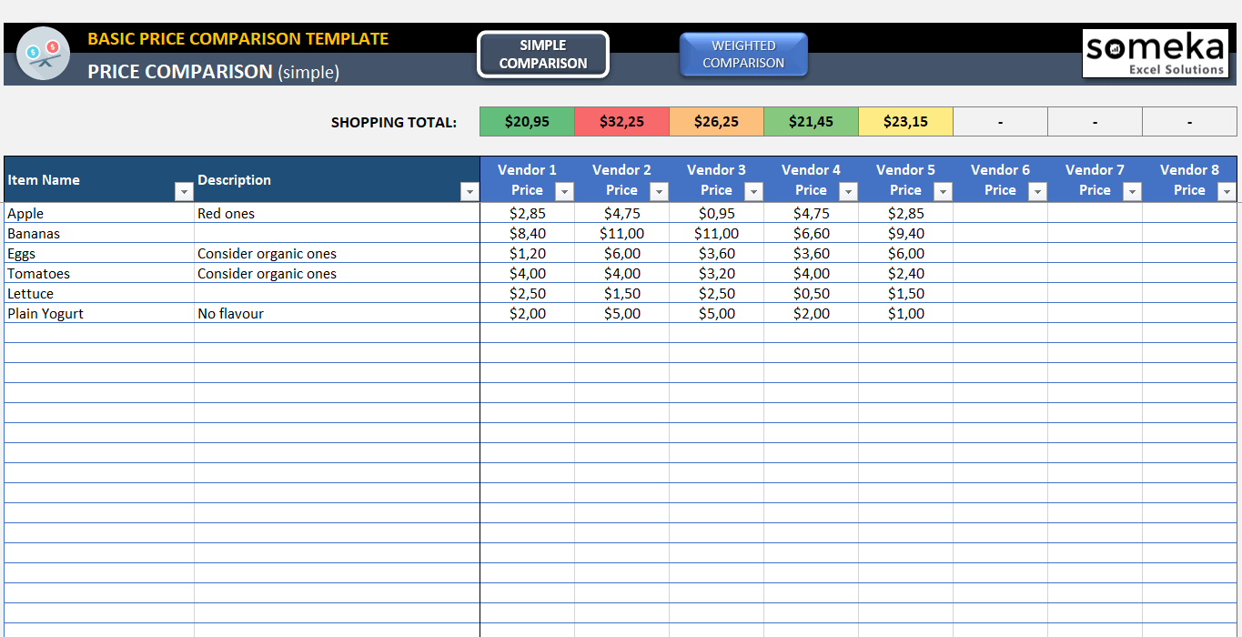 basic price comparison template for excel free download