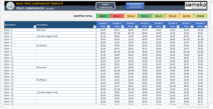 Basic Price Comparison Template - Someka SS11