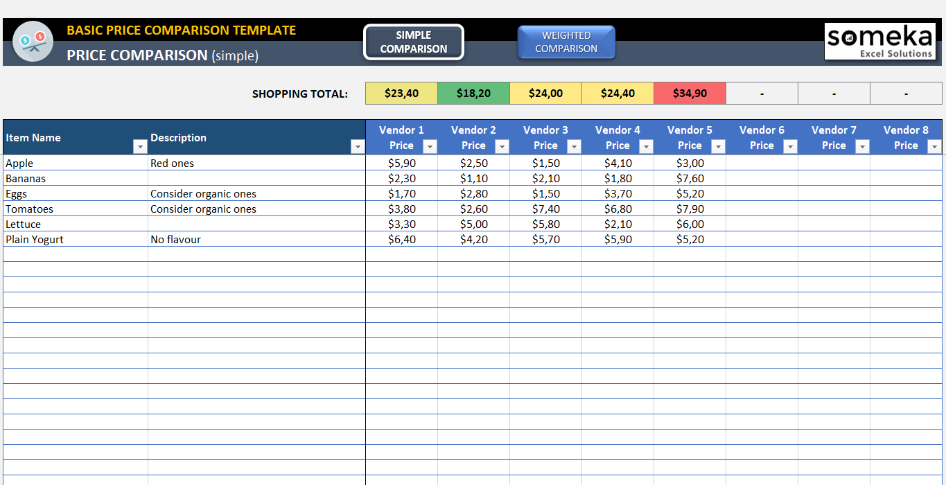 Basic Price Comparison Template for Excel - Free Download