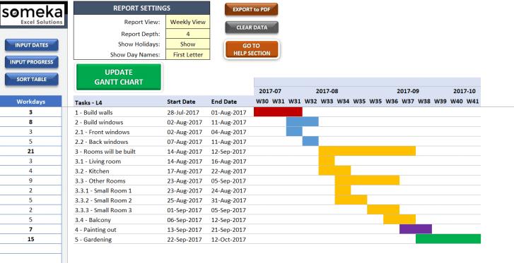 Excel Gantt Chart Maker - Someka SS11