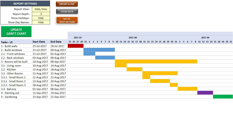 Excel Gantt Chart Maker - Someka SS15