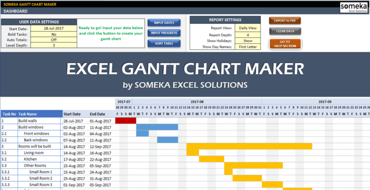 Excel Gantt Chart Maker Template - Someka Cover