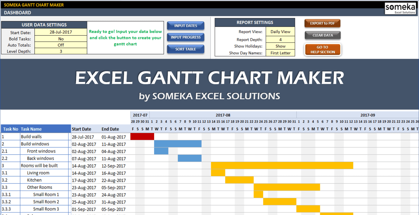 Excel gantt chart maker template easily create your gantt chart in excel gantt chart maker template someka cover geenschuldenfo Images