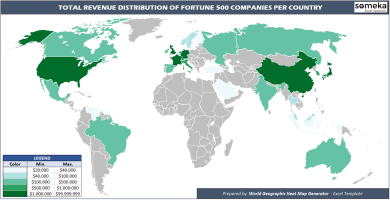 Fortune 500 Revenues World Heat Map - Someka Excel Solutions