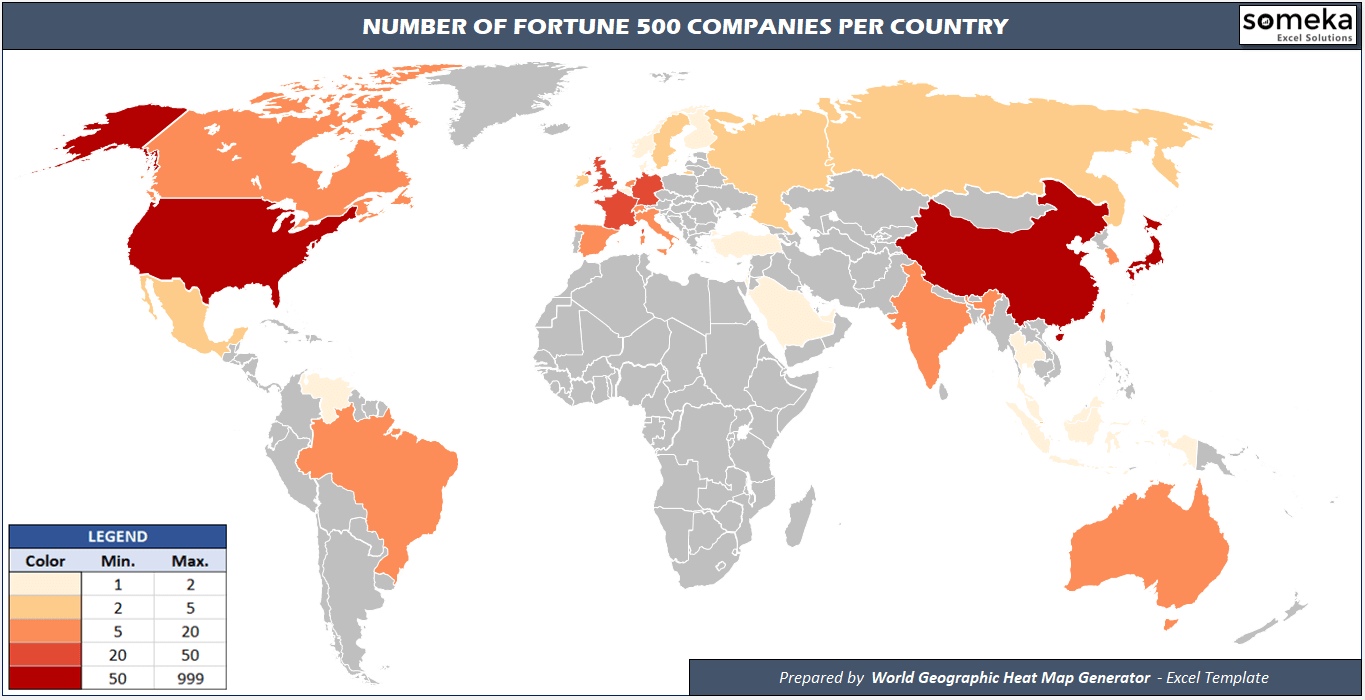 Fortune 500 World Heat Map - Someka Excel Solutions