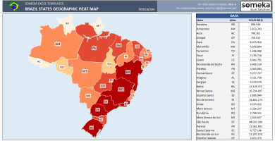 Brazil Heat Map Generator – Excel Template – Someka SS2