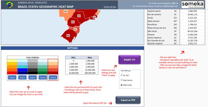 Brazil Heat Map Generator - Excel Template - Someka SS3