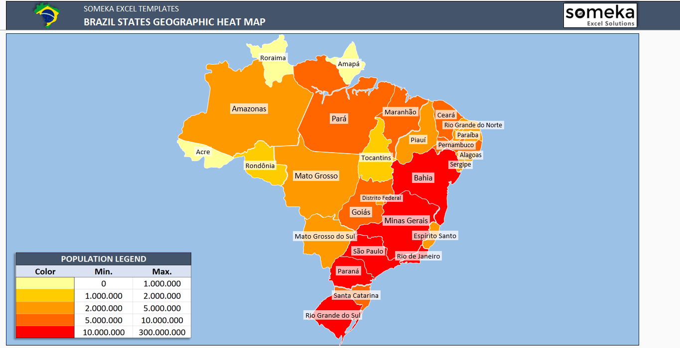 Brazil Heat Map Generator Dynamic Printable Excel Template - Brazil states map