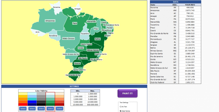 Brazil Heat Map Generator - Excel Template - Someka SS6
