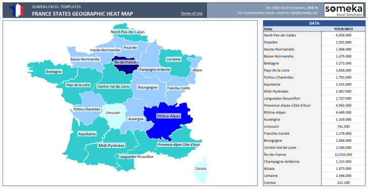 France Geographic Heat Map Generator - Excel Template - Someka SS1