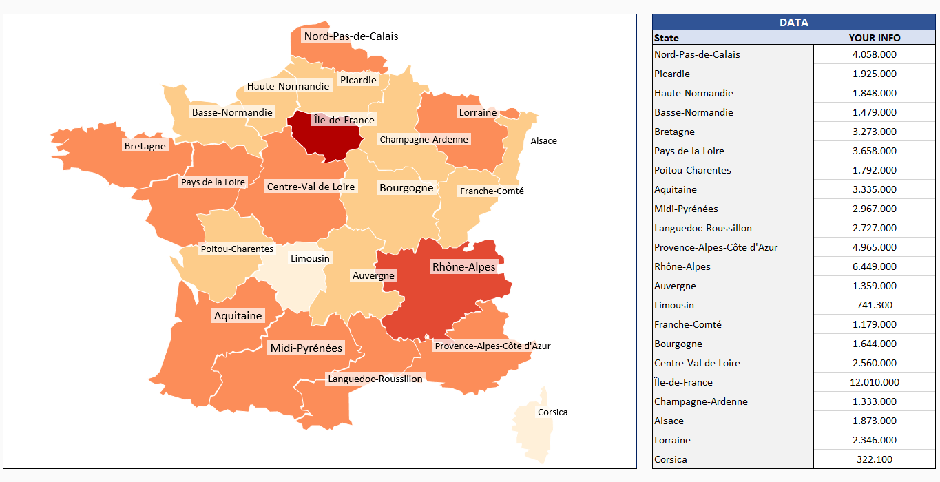 France Provinces Geographic Heat Map Generator - Excel Template
