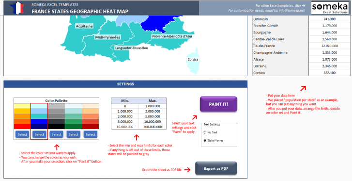 France Geographic Heat Map Generator - Excel Template - Someka SS3