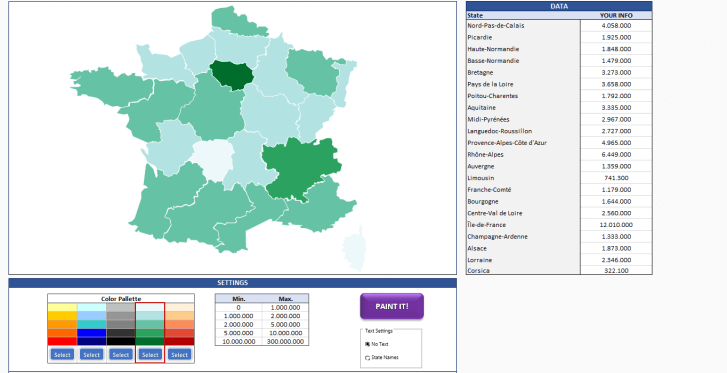 France Geographic Heat Map Generator - Excel Template - Someka SS6