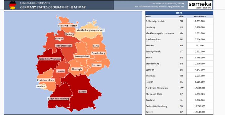 Germany Heat Map Generator - Excel Template - Someka SS1
