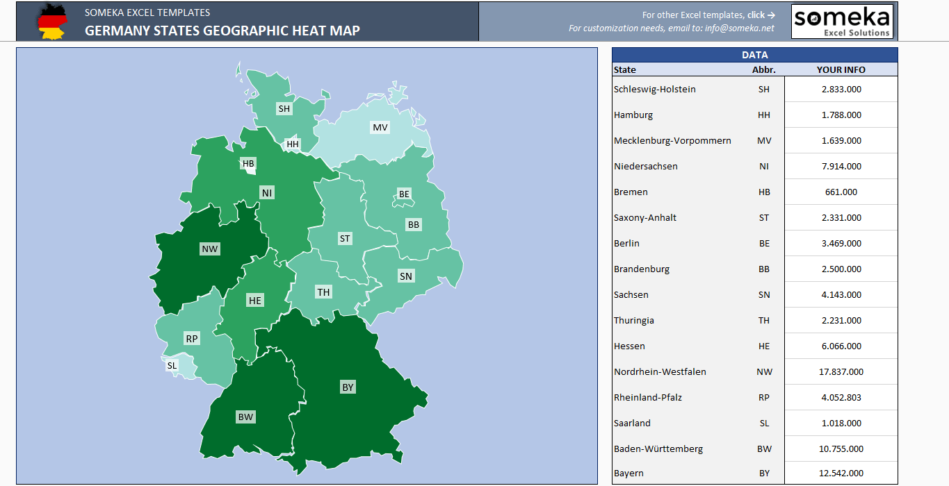 Printable Map Of Germany.Germany Geographic Heat Map Generator