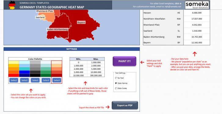 Germany Heat Map Generator - Excel Template - Someka SS3