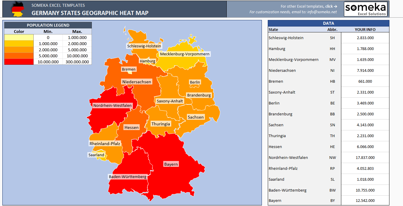 Germany Heat Map Generator - Excel Template - Someka SS4