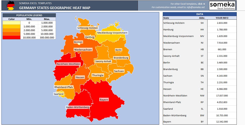 Germany Heat Map Generator - Excel Template - Someka SS4