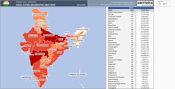 India Geographic Heat Map Generator - Excel Template - Someka SS1