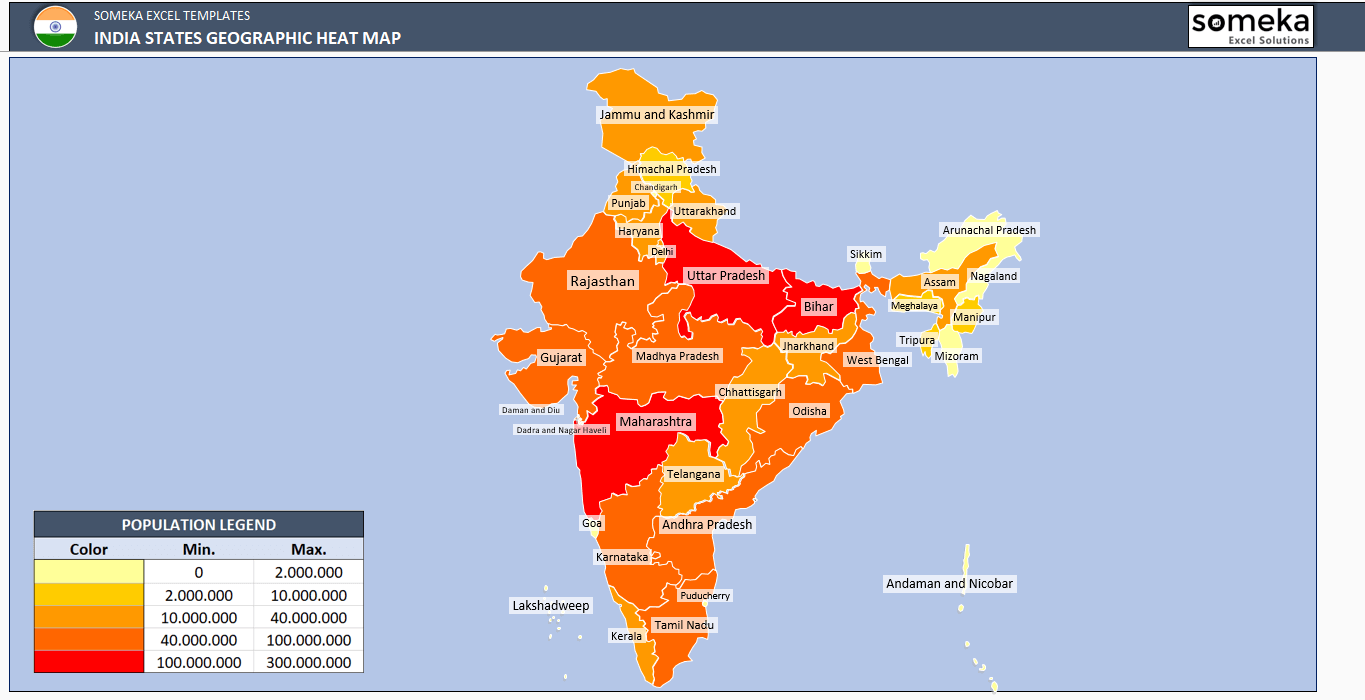 India Geographic Heat Map Generator - Excel Template - Someka SS4