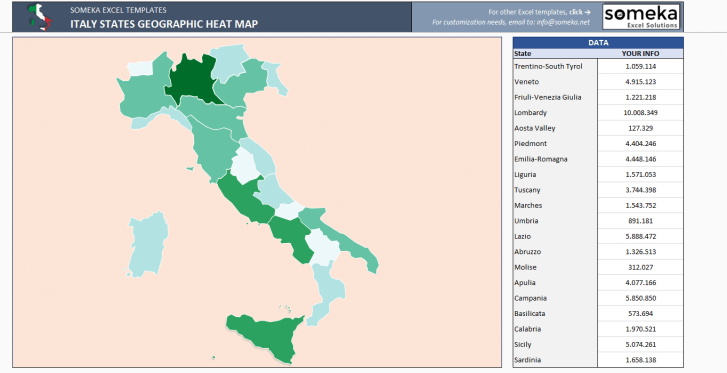 Italy Heat Map Generator - Excel Template - Someka SS2