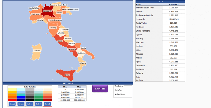 Italy Heat Map Generator - Excel Template - Someka SS6