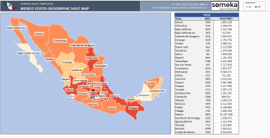 Mexico Heat Map Generator - Excel Template - Someka SS1
