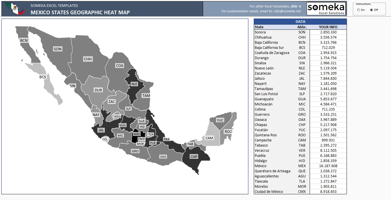 Mexico Heat Map Generator - Automatically Colored States in Excel