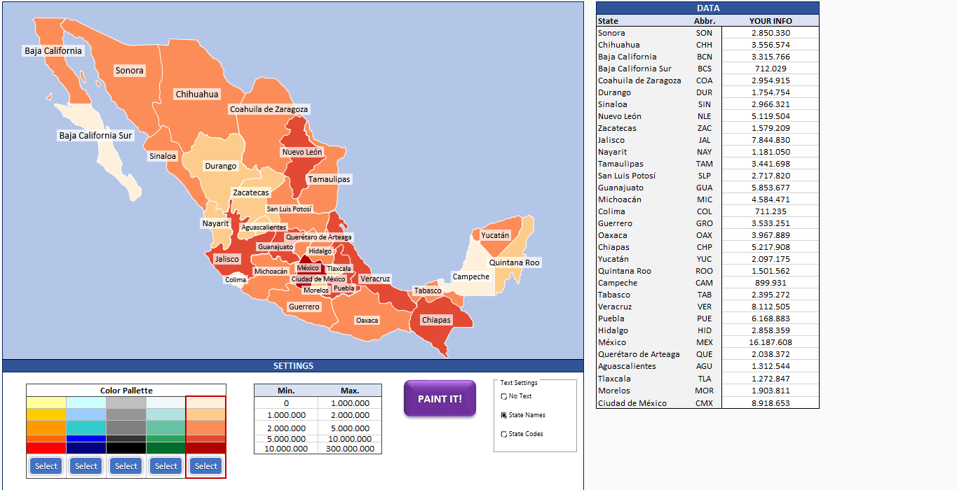 Mexico Heat Map Generator - Excel Template - Someka SS6