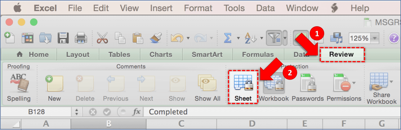 unlock excel spreadsheet mac