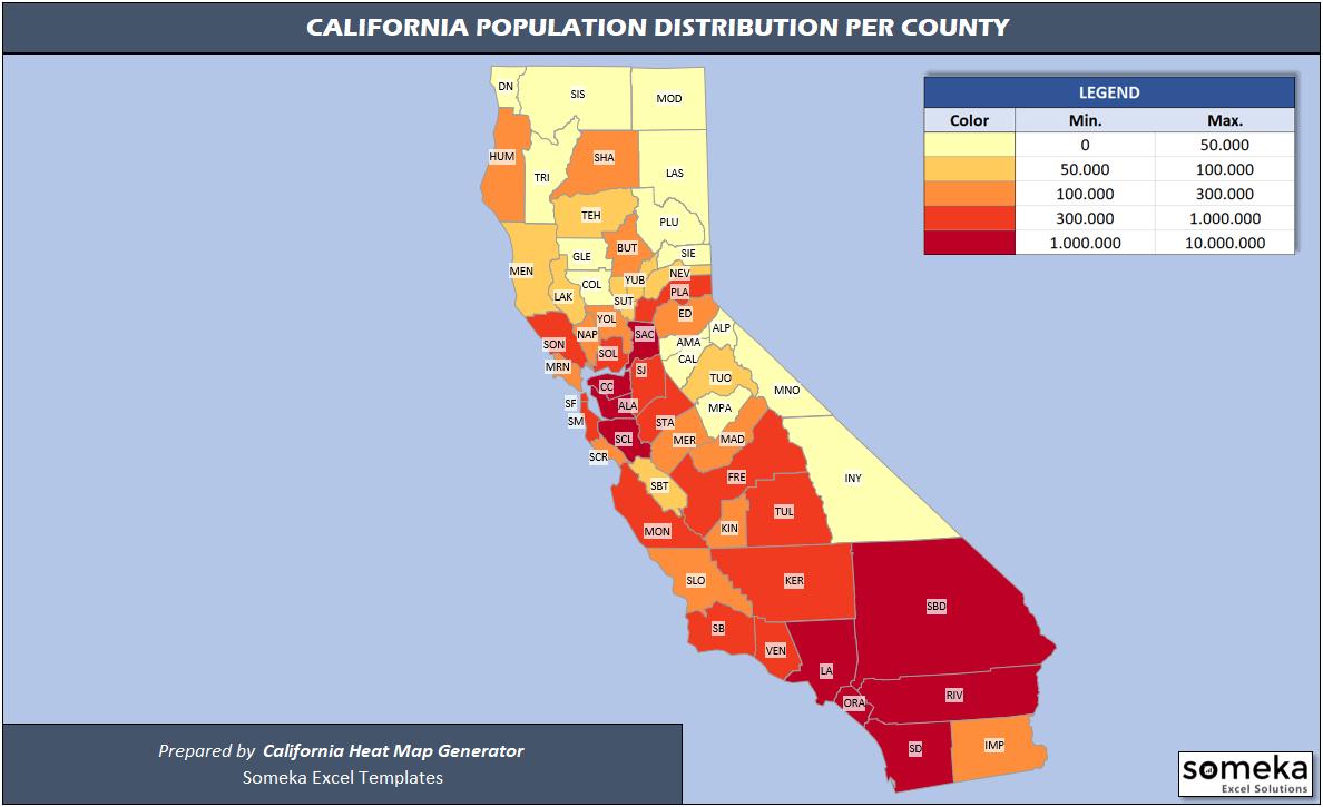 California Population Heat Map - Someka 1