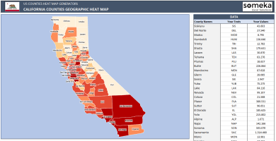 US California County Heat Map Generator - Excel Template - Someka SS1