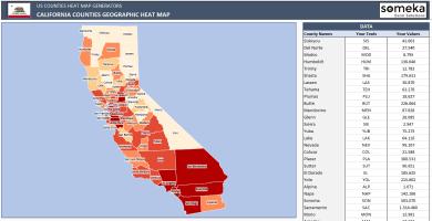 US California County Heat Map Generator - Excel Template - Someka SS1