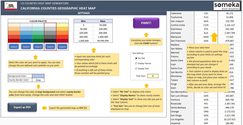 US California County Heat Map Generator - Excel Template - Someka SS4