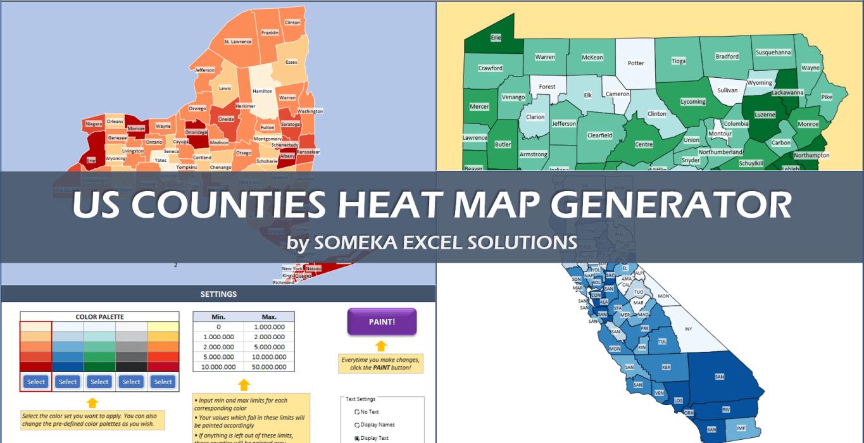 US Counties Heat Map Generators