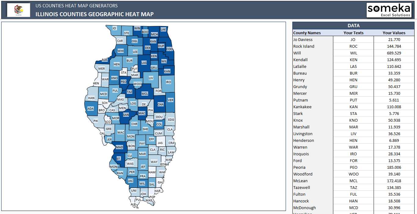 US Illinois County Heat Map Generator - Excel Template - Someka SS8