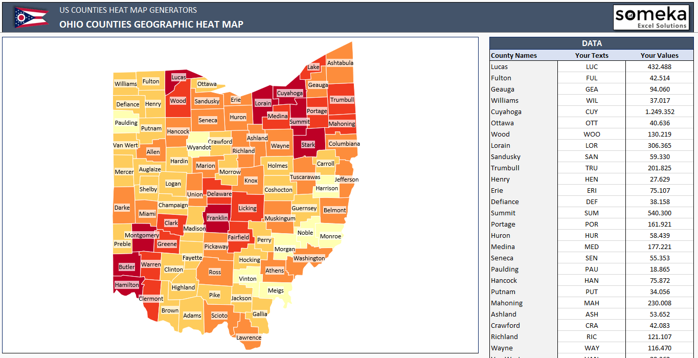 Us Counties Heat Map Generators Automatic Coloring Editable Shapes - Us-heat-map-excel