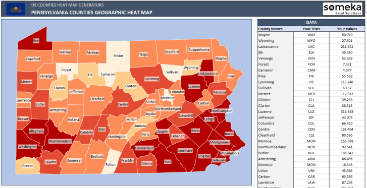 US Pennsylvania County Heat Map Generator - Excel Template - Someka SS9